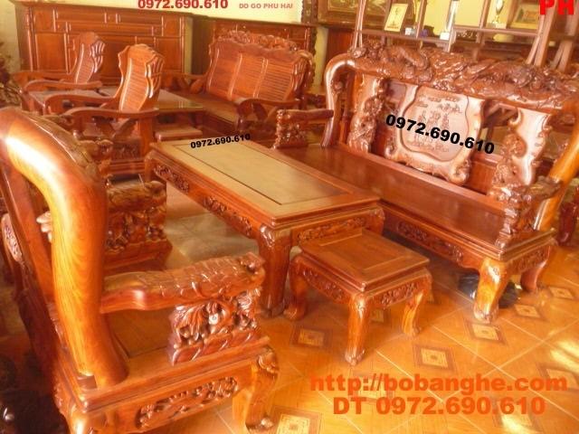 Bàn ghế gỗ hương Kiểu Phượng công PC18