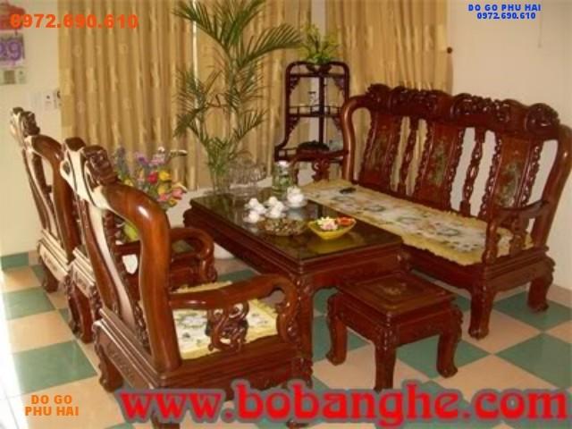 Bộ bàn ghế gỗ hương Minh Quốc hồng khảm ốc MHC02