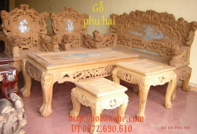 Đồ gỗ cao cấp Bàn ghế gỗ hương Song Nghê SN2