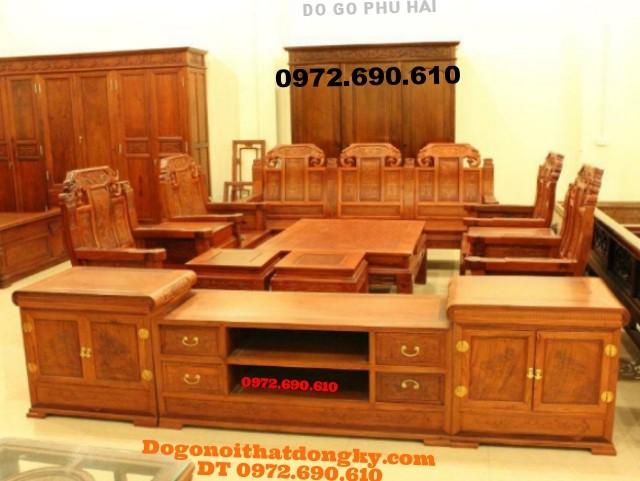 Bàn ghế gỗ hương + kệ Tivi phòng khách đẹp NY46