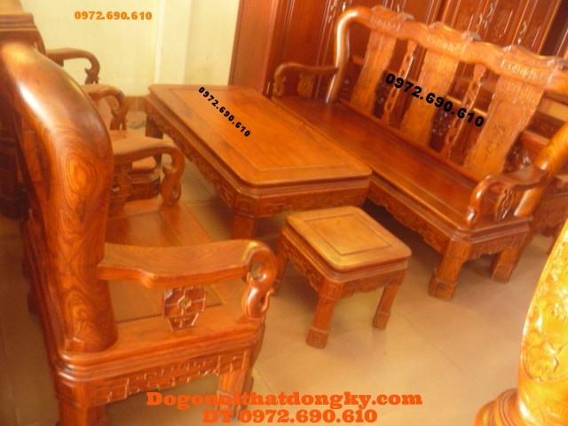 Bàn ghế đồng kỵ gỗ hương kiểu Quốc triện QT53
