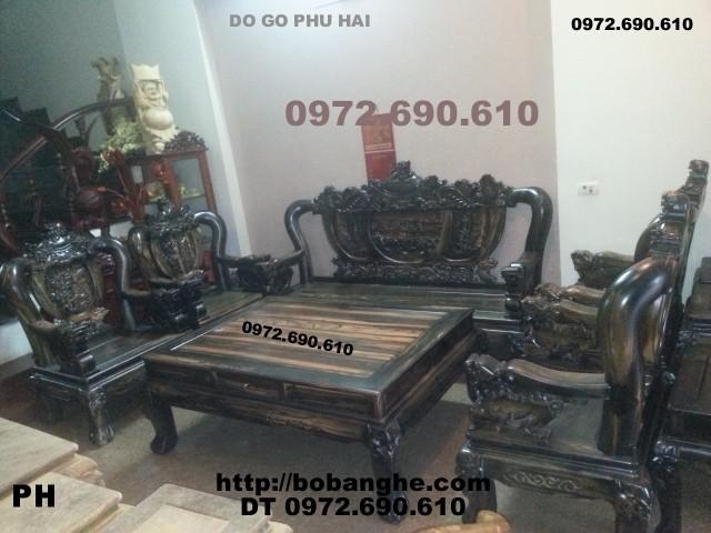 Bộ bàn ghế phòng khách gỗ mun Kiểu Rồng đỉnh V12 RD13