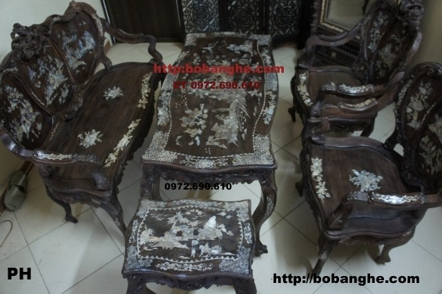 Đồ gỗ nội thất Bộ bàn ghế Gỗ Mun Kiểu cổ Louis4