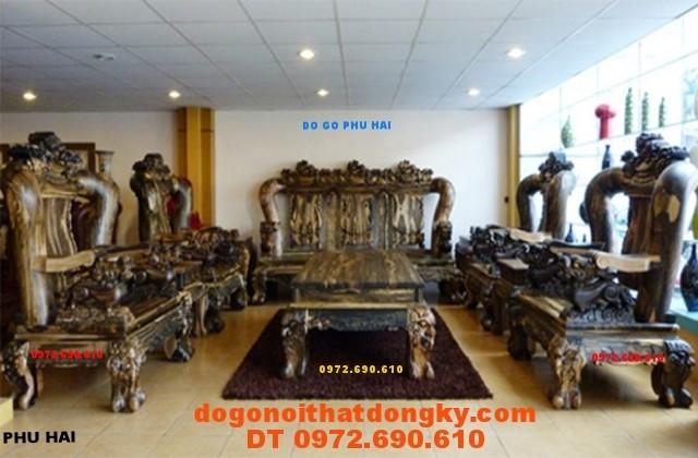 Bộ bàn ghế gỗ Mun Quí hiếm kiểu Tam Sư tử Vai 18 TS1