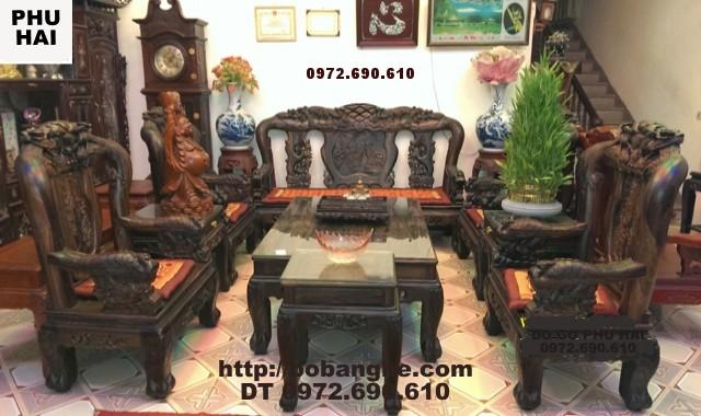 Bộ bàn ghế gỗ Mun kiểu Công Phượng V12 PC16