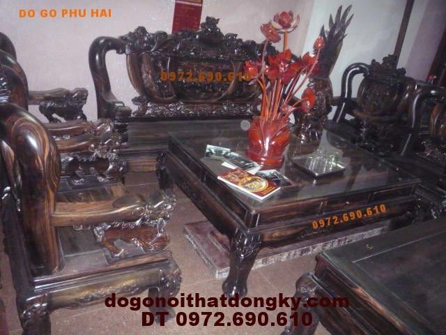 Bộ bàn ghế Đồng Kỵ gỗ Mun Kiểu Rồng đỉnh vai 14 RD14