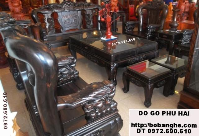 Bàn ghế phòng khách gỗ mun Kiểu Công phượng C12 PC20