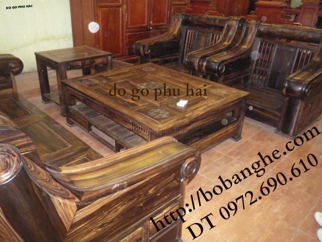 Bộ bàn ghế gỗ mun Kiểu Hộp trống HT1