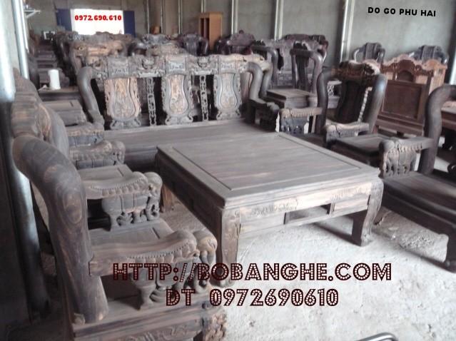 Bộ bàn ghế gỗ mun Minh Quốc voi QV8