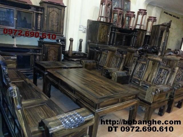 Bộ bàn ghế phòng khách gỗ mun Kiểu Âu Á tay hộp AU6