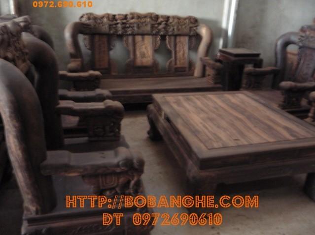 Bộ bàn ghế gỗ mun Quốc voi ,Đồ gỗ Đồng kỵ QV9