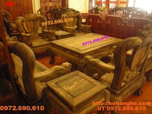 Bộ bàn ghế gỗ mun duy nhất tai VN Kiểu Rồng đỉnh V12 RD12