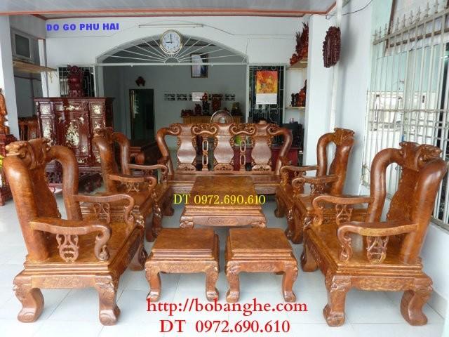 Đồ gỗ đồng kỵ Bộ bàn ghế Gỗ Nu nghiến NG8