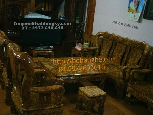 Bộ bàn ghế phòng khách gỗ nu nghiến Quốc Triện C12 QTN2