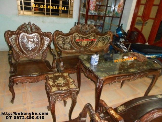 Bộ bàn ghế kiểu Louis cổ khảm ốc Louis07