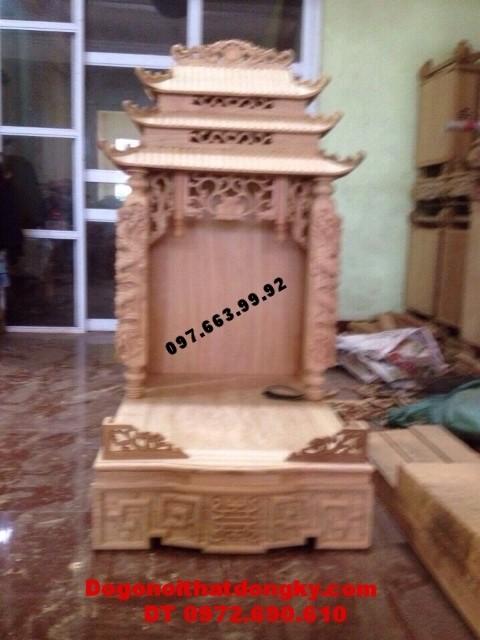 Bàn thờ thần tài ba mái cột rồng BTT.17