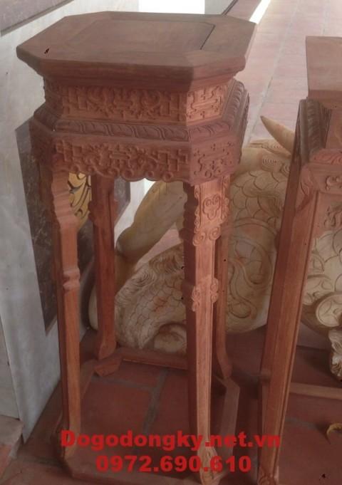 Đôn gỗ trang trí, Đôn gỗ gụ lục giác D10