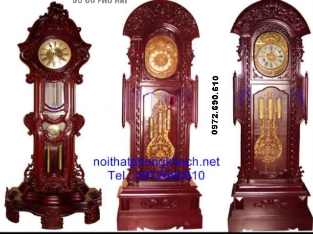 Đồ gỗ đồng ky: Đồng hồ đứng cham hoa văn ĐH2