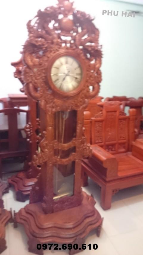 Đồng hồ đứng giá rẻ gỗ hương kiểu cửu rồng DH.51