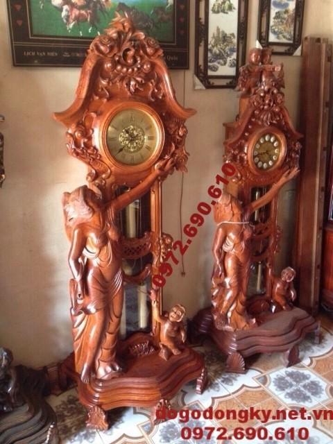 Mẫu đồng hồ thiếu nữ đẹp đồ gỗ mỹ nghệ Phú hải DH67