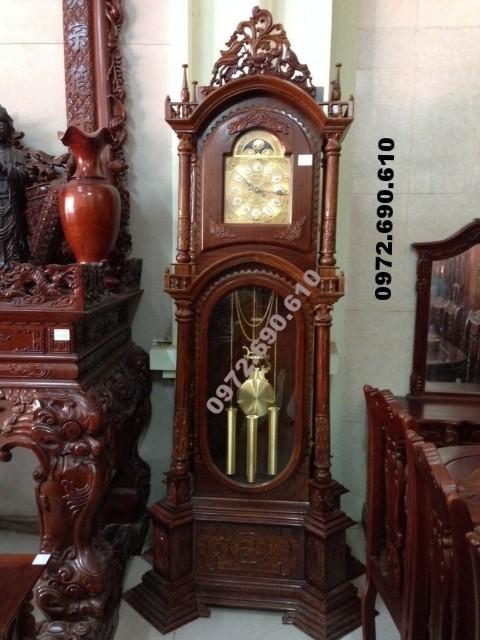 Đồng hồ quả lắc máy cơ gỗ hương kiểu Đức DH77