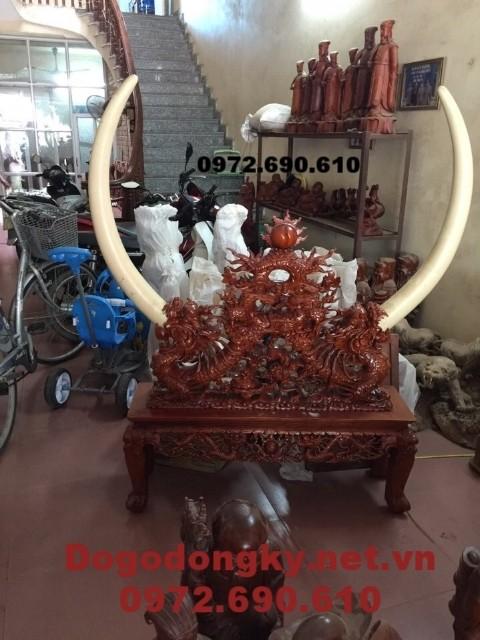 Giá để bày ngà voi, Giá cắm ngà voi gỗ gụ GN19