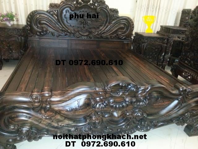 Giường ngủ gỗ mun, Giường ngủ đẹp GN18