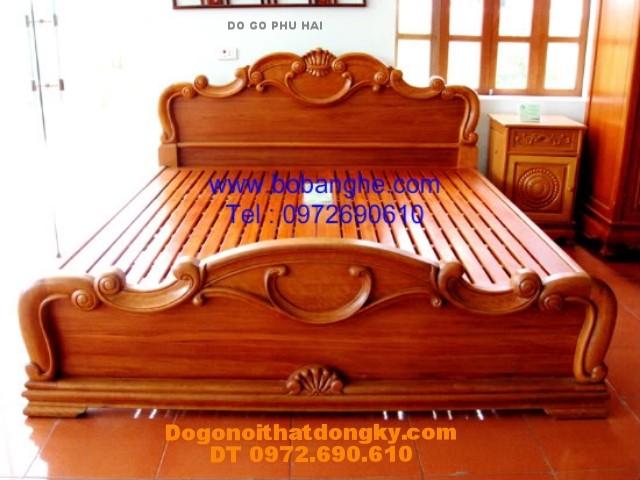 Giường ngủ ,Giường chạm hoa lan tây GN4