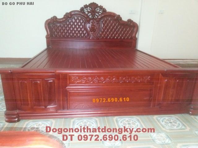 Giường ngủ đục trám gỗ hương GN13