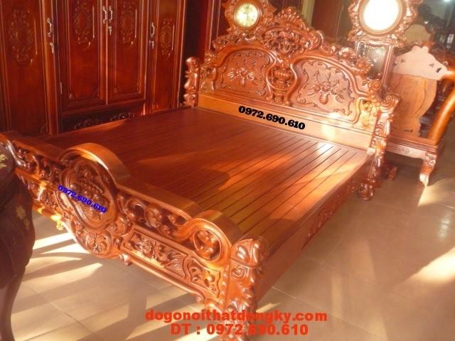 Giường gỗ hương, Giường ngủ Hoa Hồng kiểu mới GNH-2