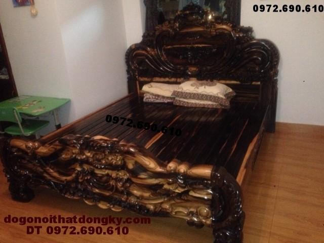 Giường ngủ đẹp, Giường hoa hồng gỗ mun GN.38