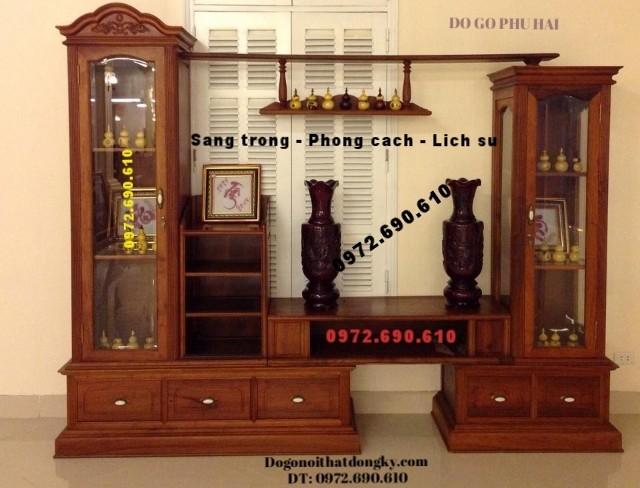 Tủ để Tivi Gỗ hương đẹp, Tủ bày đồ KTV38
