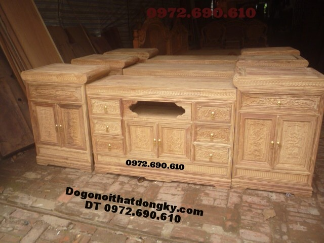 Kệ Tivi gỗ gụ Ba cục dogodongky.net.vn KTV12