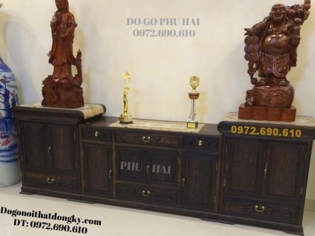 Tủ kệ Tivi Kiểu dáng đẹp sang trọng gỗ mun KTV42
