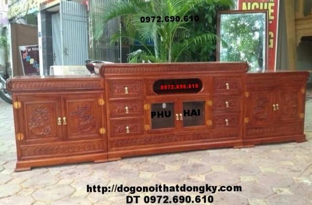 Kệ tivi phòng khách đẹp, Tủ tivi gỗ hương KTV47