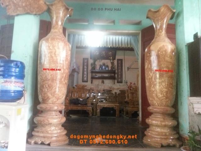 Căp Lôc bình Phú quí, Lộc bình 190cm gỗ nu LBN33