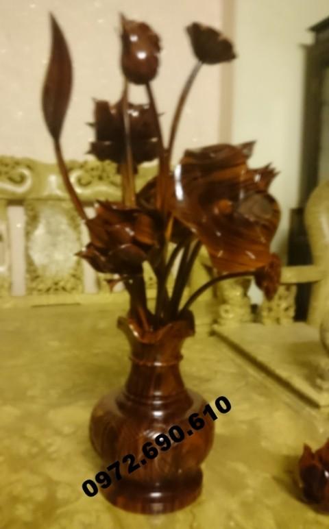 Hoa sen gỗ, Binh hoa sen làm bằng gỗ BH03