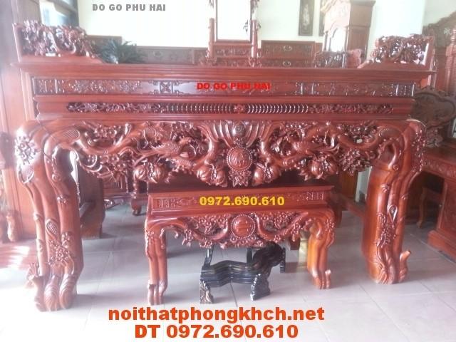 Bàn thờ chạm mai , Đồ gỗ Phú Hải ST22