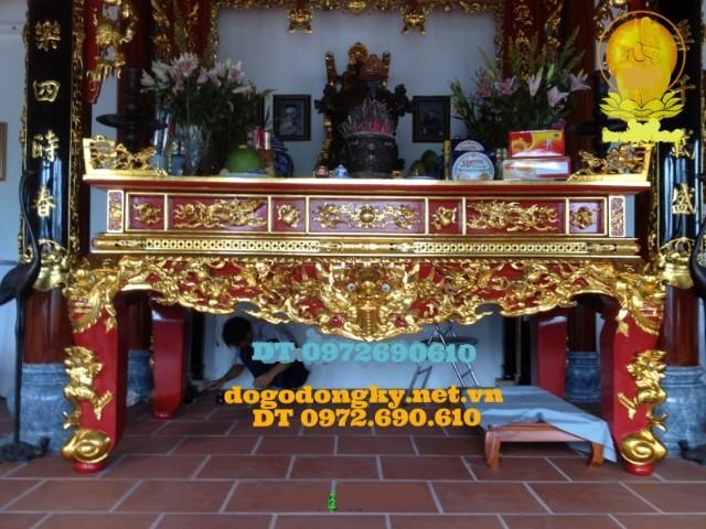 Bàn thờ gia tiên gỗ gụ sơn son thếp vàng STV5