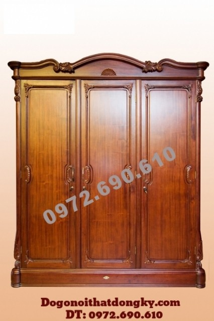 Tủ áo gỗ hương, Tủ đựng quần áo 3 Buồng 4 Cánh TA10