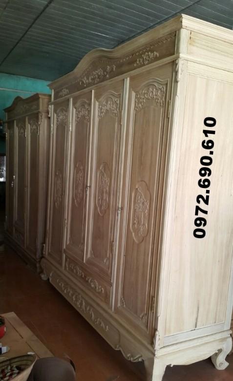Tủ quần áo giá rẻ, Tủ áo đồng kỵ gỗ gụ 4 cánh TA12