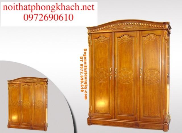 Tủ quần áo gỗ hương 3 buồng T3B4
