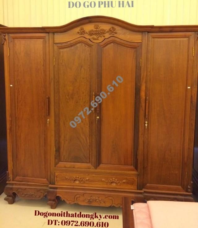 Tủ quần áo gỗ gụ giá rẻ 3 Buồng 4 Cánh TA2