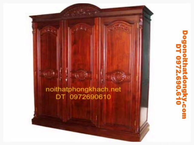 Tủ để quần áo gỗ gụ 3 buồng T3B1
