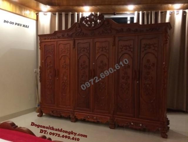 Tủ đựng áo quần gỗ hương 6 Cánh đồ gỗ Phú Hải TA5