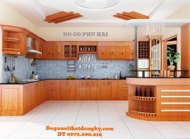 Sản xuất và thi công Tủ bếp đẹp gỗ Căm Xe TB3
