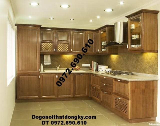 Mẫu tủ bếp đẹp gỗ pomu cho phòng ăn sang trọng TB5