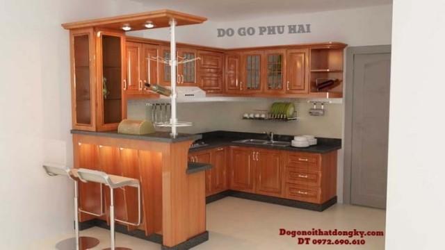 Phú Hải thiết kế, thi công,Lắp đặt Tủ bếp gỗ camxe TB7