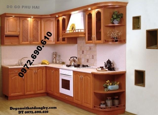 Tủ bếp gỗ camxe, Tủ bếp đẹp Chữ L giá rẻ TB8