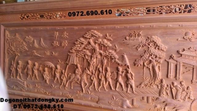 Tranh điêu khắc gỗ, tranh chạm nổi tích Vinh qui bái tổ T17